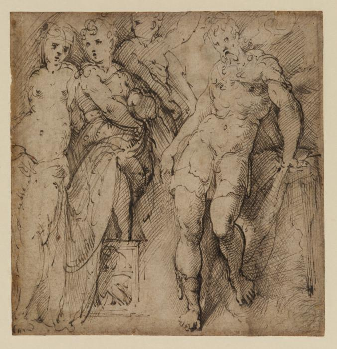 Parmigianino, Sheet of studies (recto)