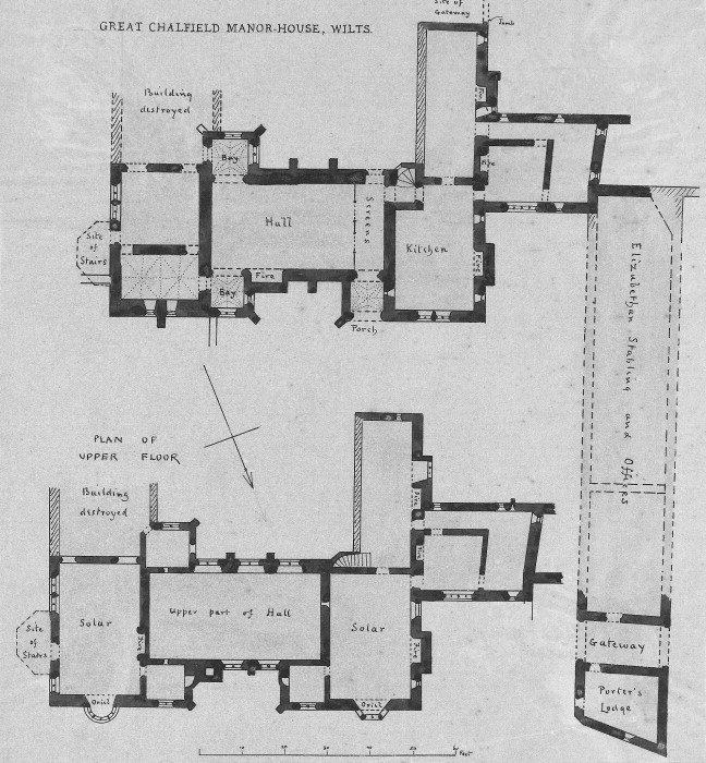A a plans drawings great chalfield manor for Fortified house plans